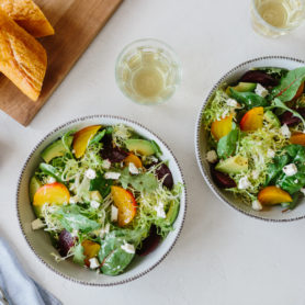 Salt-Roasted Beets with Avocado, Mixed Lettuces and Citrus Vinaigrette